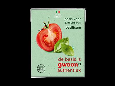 g'woon tomatensaus met basilicum 390g