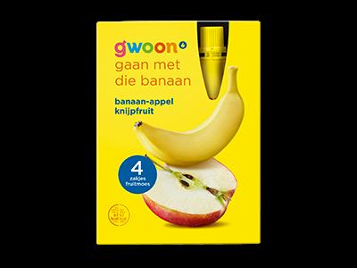 g'woon banaan appel knijpfruit 4 zakjes