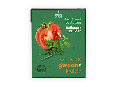 g'woon tomatensaus met kruiden 390g