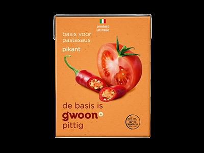 g'woon pittige tomatensaus 390g