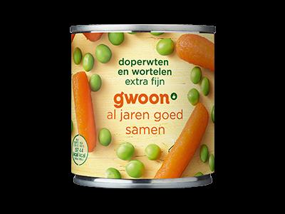 g'woon doperwten wortelen extra fijn 200g