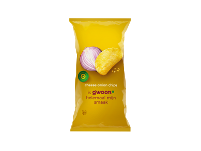 g'woon cheese onion chips 225 gram