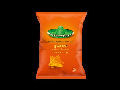 g'woon nacho cheese tortilla chips 165 gram