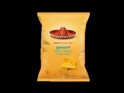g'woon naturel tortilla chips 165 gram